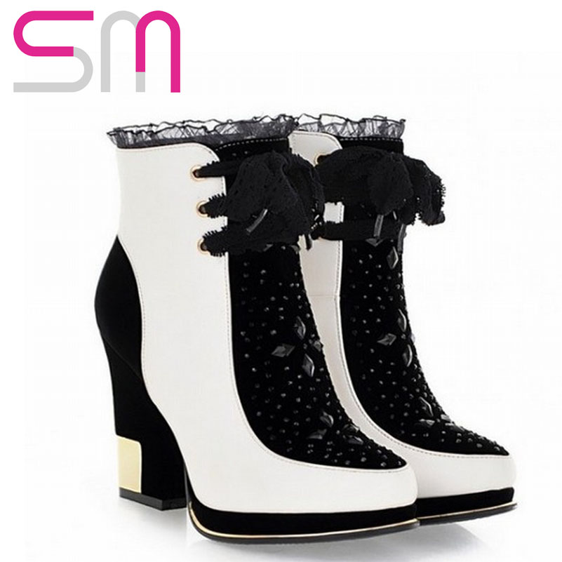 Vintage Chunky High Heels Short Plush Winter Shoes New Arrivals Women Ankle