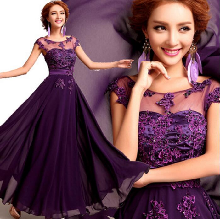Real Images In Stock Ready to Ship Purple Pink Red Lace Chiffon Evening Dresses Cheap Under 100 Floor Length Inexpensive(China (Mainland))