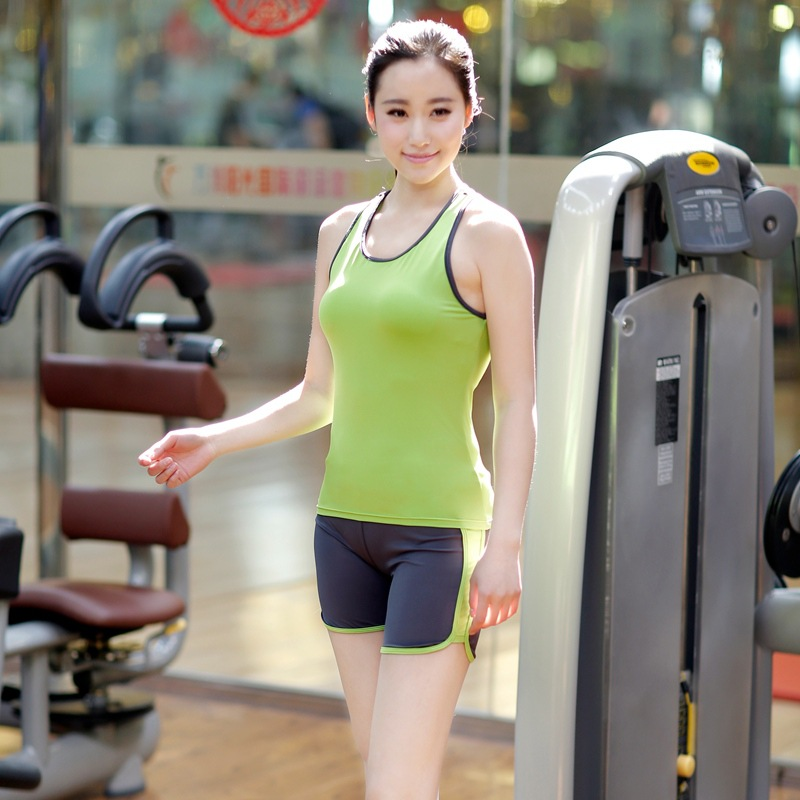 2015 Spring And Summer Workout Clothes For Women Yoga Set Fashion Slim Dance Practice Clothes Vest Shorts(China (Mainland))