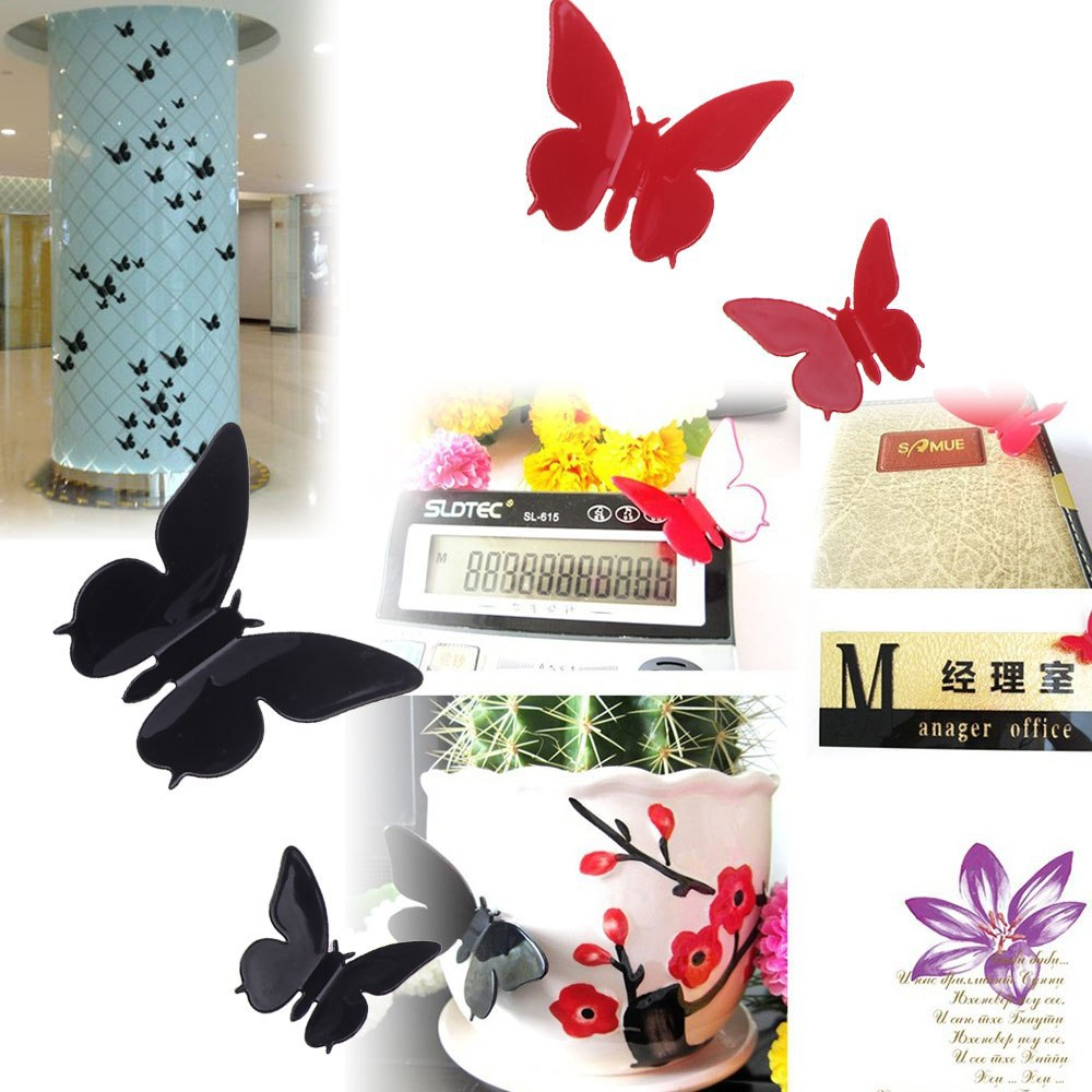[Popular] 24pcs 3D DIY Wall Stickers Butterfly Lovely Mural Decal Home Decor Room Art Decorations [Cheap](China (Mainland))