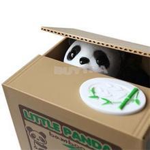 New Hot Sale 2015 Panda Style Moneybox Stealing Coins Penny Cents Buck Saving Money Box Piggy Bank(China (Mainland))