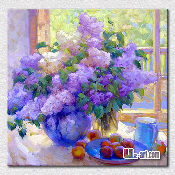 Elegant purple flowers oil painting modern decoration wall pictures for bedroom high quality reproduction(China (Mainland))