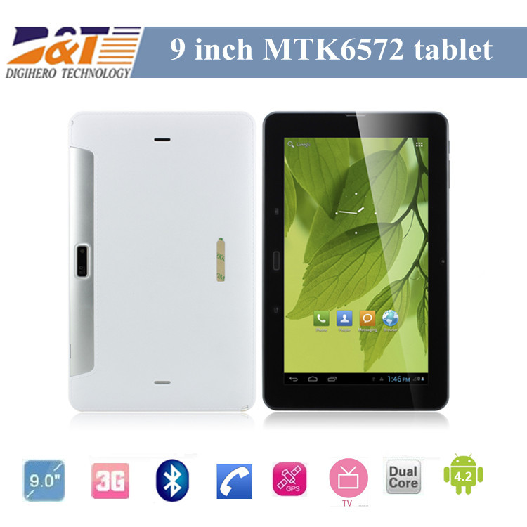 Free Shipping WCDMA 3G Phone tablet 9inch MTK6572 Dual Core 3G TV bluetooth Android 4.2 Wifi Dual Camera with SIM Card Slot(China (Mainland))