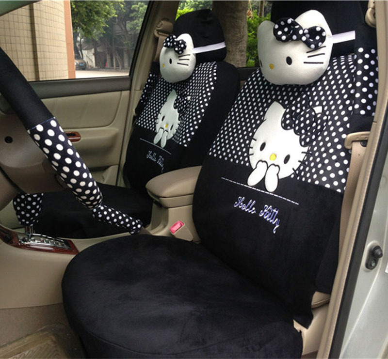 lovely cartoon car seat covers hello kitty 18pcs soft plush universal car seat covers car. Black Bedroom Furniture Sets. Home Design Ideas