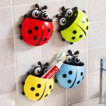Super Deal Hot! New 2016 Cute Cartoon Sucker Toothbrush Holder Ladybug Bathroom Set 01(China (Mainland))