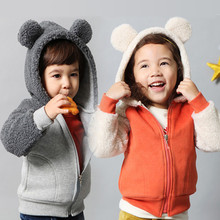 2015 Autumn-winter High Qulity Long Sleeve  Outerwear  For 1-5 Age Children Cute  Bear's Ears Girls&Boys Jackets(China (Mainland))