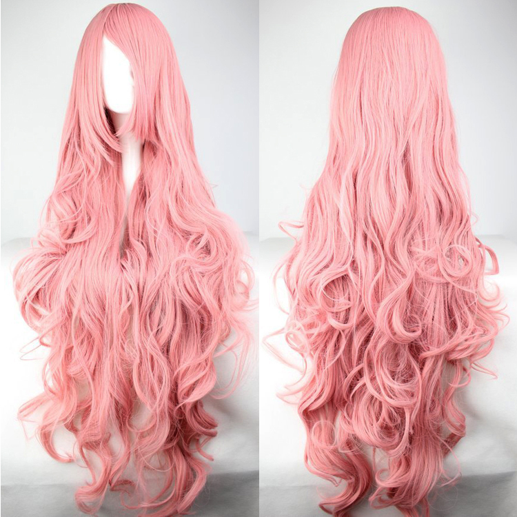 Lovely Lolita Style Wavy Long Curl Pink Bangs Wig Anime Cosplay Heat Resistance Fibre Women 1 Meters Long Wigs Synthetic Hair(China (Mainland))