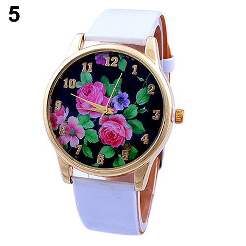 Popular Long life span Casual Wrist Watch with Rose Flower Dial Faux Leather Strap Quartz Analog for women NO181 5UWH C2K5W