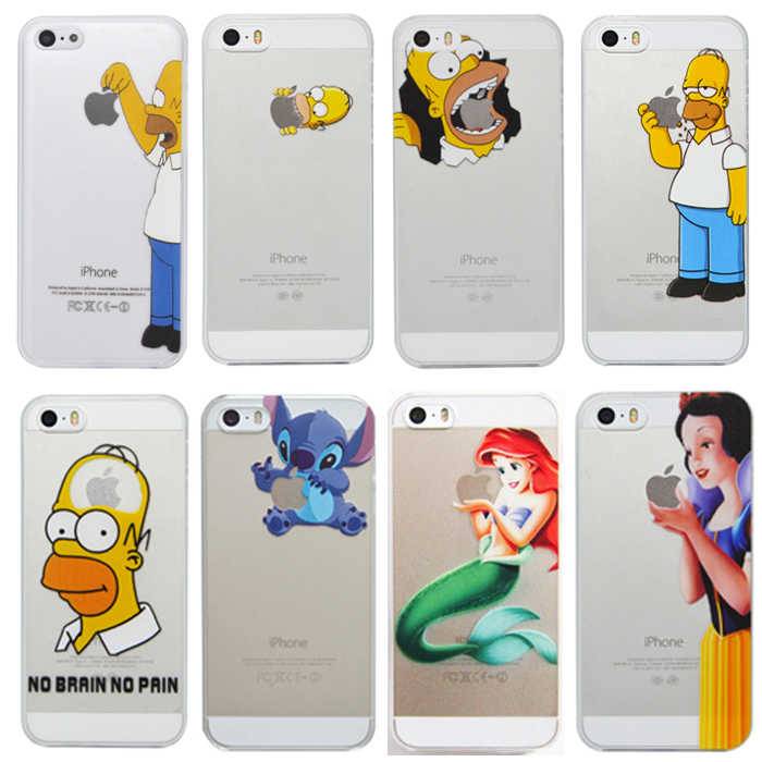 Transparent Plastic Hard Cover Snow White Little Mermaid Simpson Phone Case for iPhone 5 5s 4 4s 5c(China (Mainland))