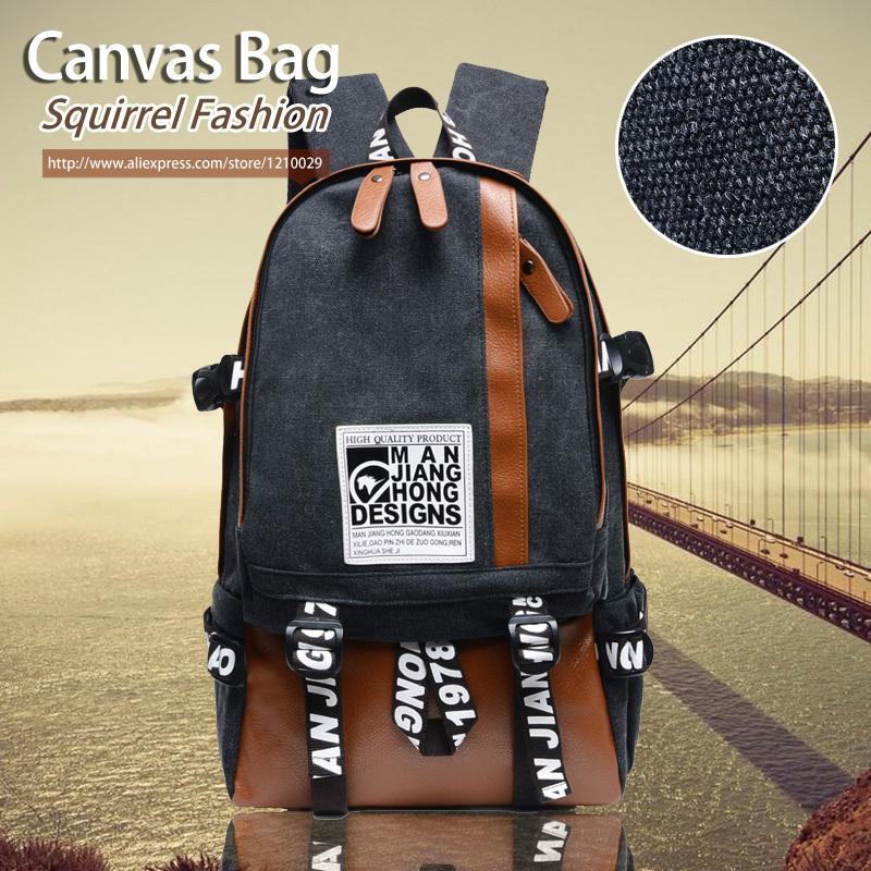 Squirrel fashion Korean preppy style canvas unisex backpacks boys school bag vogue letter rucksack casual daily mens travel bag<br><br>Aliexpress