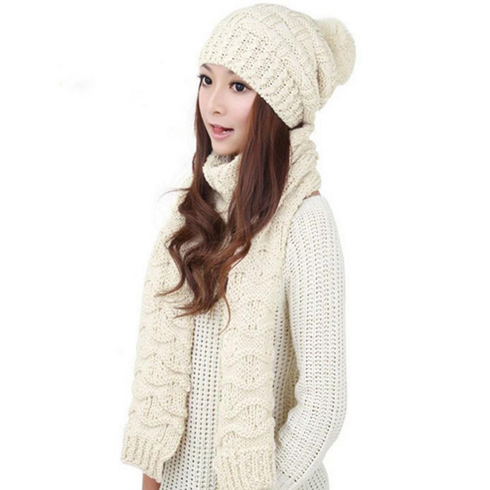 Hotselling Winter Hat Scarf Cute Knit Crochet Beanies Cap Hats Women Warm Scarf Skullies Hat Twist Knitted Beanies Hat