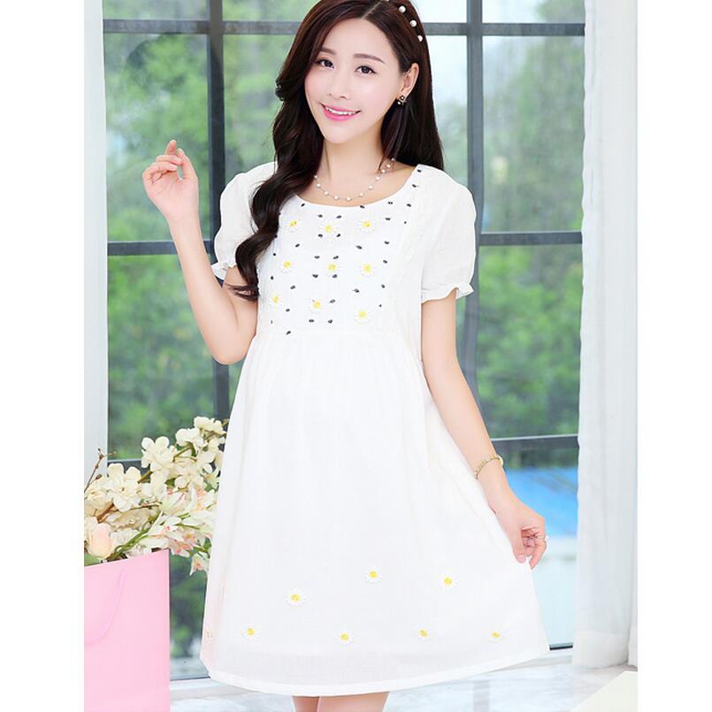 2016 Summer Maternity Dress Pure Cotton And Linen Short Sleeves Korea Fashion Sexy Maternity Dress Plus Size Women Clothing Q359(China (Mainland))