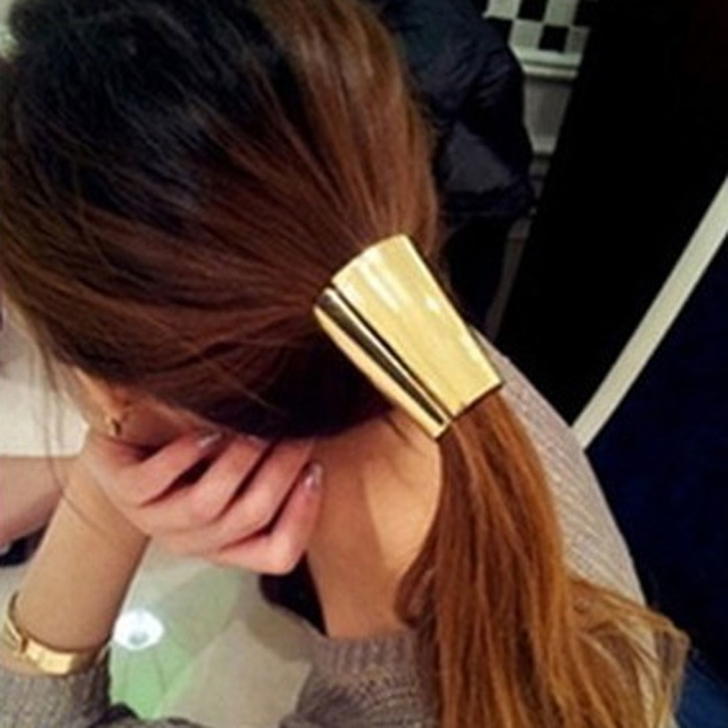 Brand New 2014 Jewelry Metal Big Gold/Silver Plated Elastic Ponytail Holder Hair Ring Accessories for Women 1pcs(China (Mainland))