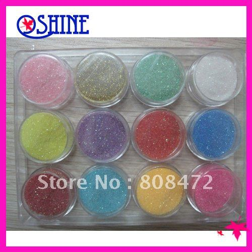 2012 Nail Art 12PCS Color Glitter Powder Dust Nail Art Tip Decoration Paillette Spangles(China (Mainland))