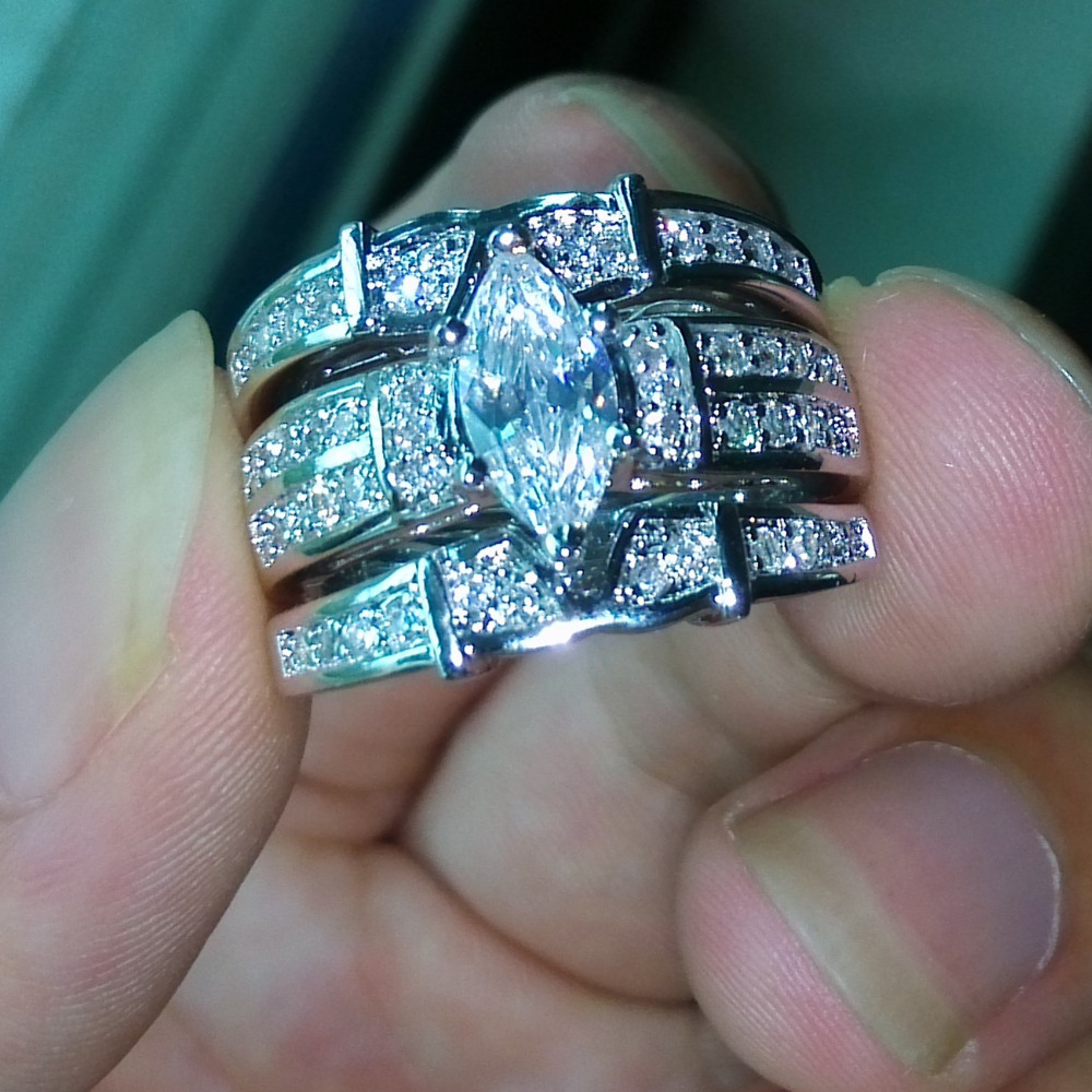 Victoria Wieck Hot Deluxe Marquise Cut Topaz Simulated diamond14KT White Gold Filled 3 Wedding Ring Set Sz 5-11 Free shipping(China (Mainland))