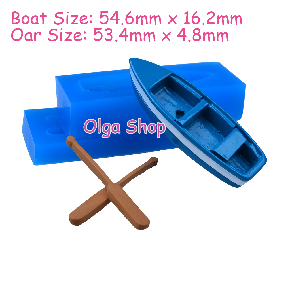 PYL208 3D Rowboat with Oars Mold 3D Wooden Boat Shelf With Oars Moulds 3D Boat Mould Flexible Push Silicone Molds Food Safe(China (Mainland))