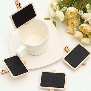 Mini Wooden Chalkboard Clips (24 pcs/lot)
