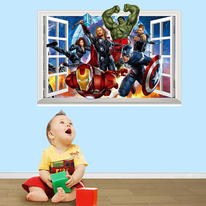 Cartoon 3D Window The Avengers Mural Removable Wall Sticker Decal Kid Room Decor free shipping(China (Mainland))