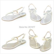 LARAs silver gold flats sandals summer metallic leather ladies female pearl diamond sandles beach t bar strap comfy comfort shoe(China (Mainland))