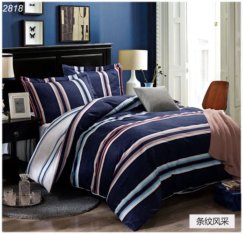 Dark blue bedding set with white grey strips tapes 100% cotton duvet cover bed sheet pillowcases brief bedding-set 2818(China (Mainland))