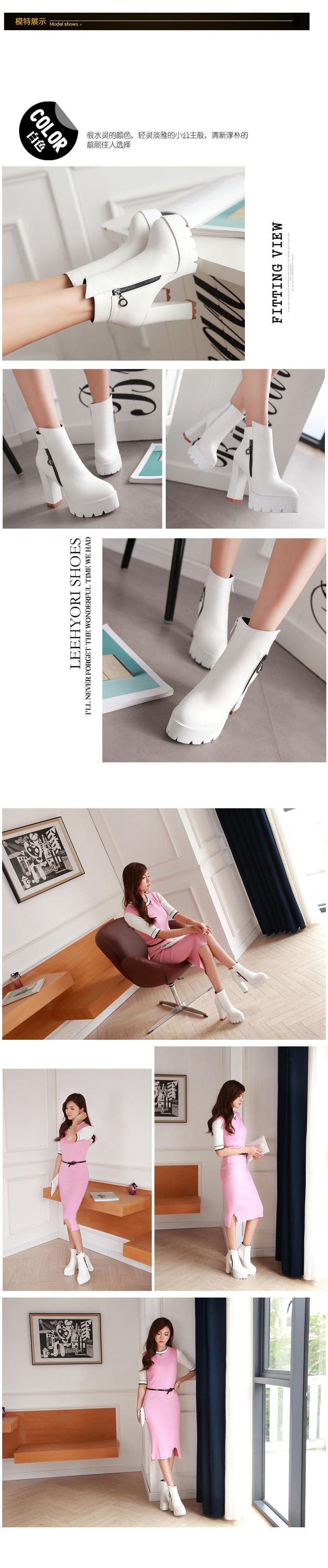 Elegant Zipper Autumn Winter Ladies Retro Style Ankle Boots Fashion Large Size Womens Platform Shoes Chunky High Heel Booties