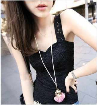 Lace vest summer lace double layer slim sexy basic spaghetti strap small vest autumn Women free shipping