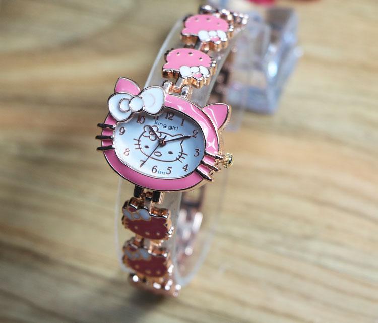 Wholesale Lovely Hello Kitty Watch Fashion Children Women Lady Dress Quartz Wristwatches 9513(China (Mainland))