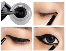 Free Shipping Cosmetic Set Black Liquid Eyeliner Waterproof Eye Liner Pencil Shadow Gel Eyeliner Makeup + Black Brush