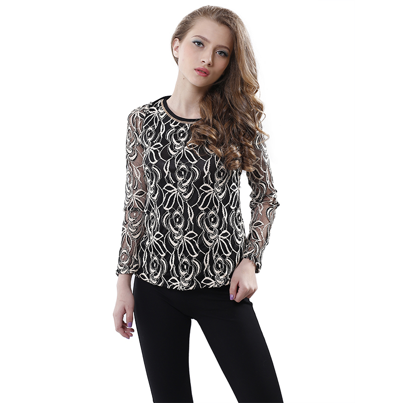 Women Lace Chiffon Blouse Elegant Vintage Shirt O-neck Long Sleeve Crochet Black White - PT trading Co.,Ltd store