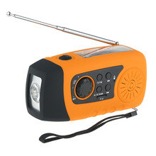 2015 New Arrival HOT Emergency Solar Hand Crank FM Radio, MP3 Player, Flashlight, Smart Cell Phone Charger with USB Cable Yellow