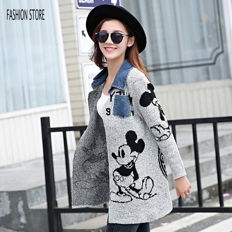 New Autumn Winter Cartoon Mouse Woman Cardigan Long Oversize Sweater Fashion Rebecas Mujer Women Sweater F606(China (Mainland))