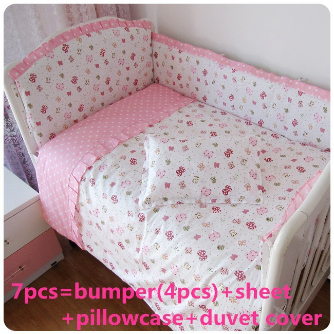 Promotion! 6/7PCS Baby Bed Set,Both Safety and Healthy Kids Accessory,,120*60/120*70cm(China (Mainland))