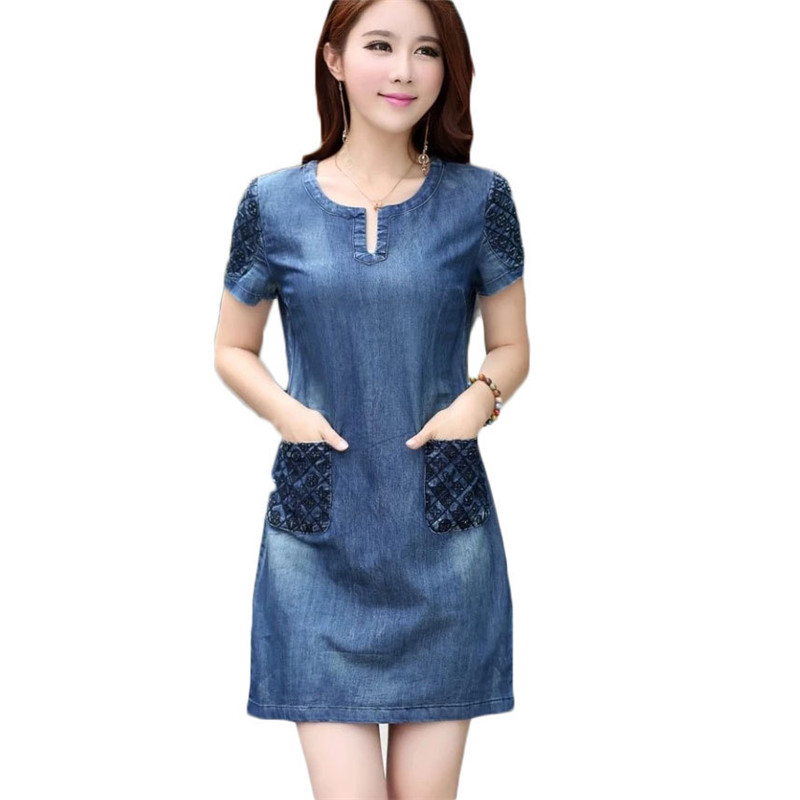 Korean sundress embroidered denim dress short sleeved