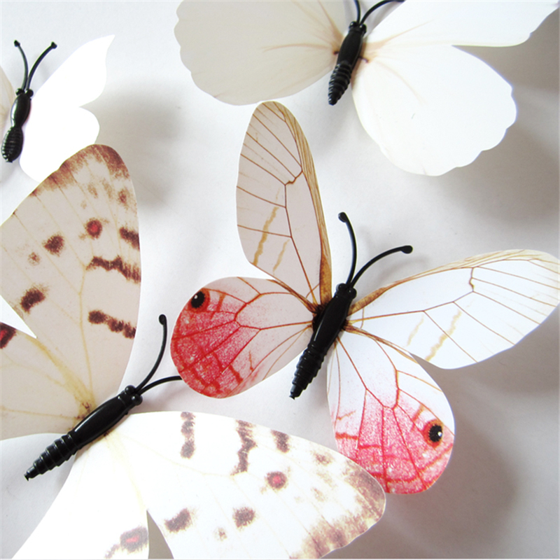 12pcs/pack Plastic 3D Artificial Butterfly with Pin Jewelry Accessories for Mosquito Net Curtain Decor Party Wedding Decoration(China (Mainland))