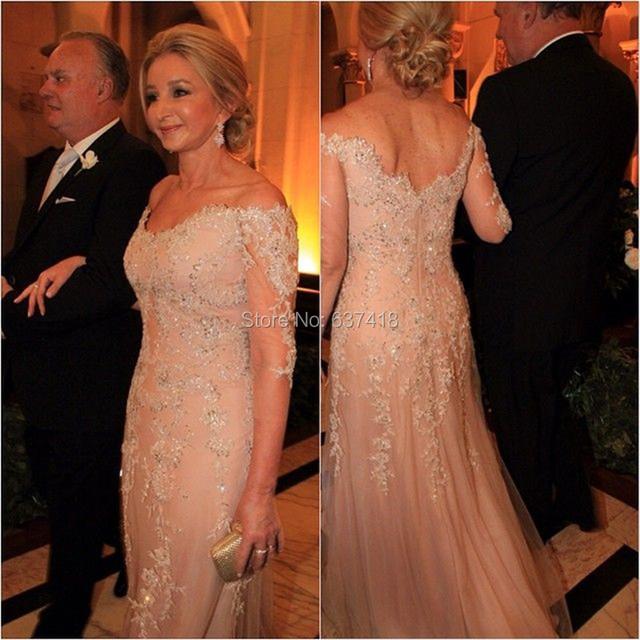 Три четверти рукава цвет шампанского мать невесты платье для свадьбы с кружево аппликации ...