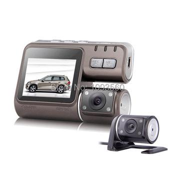 2015 новый приходите i1000 автомобильный видеорегистратор двойная камера с двумя объективами видеокамера HD 1080 P тире камерой черный ящик с задней 2 Cam вида автомобиля приборной панели
