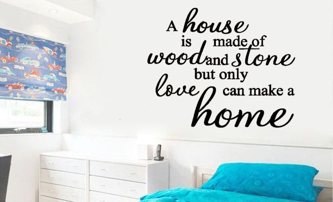 Only Love Can Make a Home vinyl wall quote for home(China (Mainland))