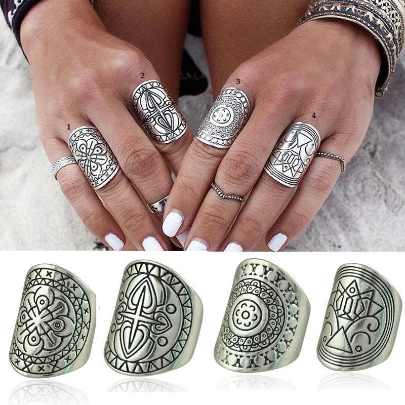 Гаджет  2015 New Bohemia Vintage Unique Carving Tibetan Silver Plated Ring Set 4PCS/Set None Ювелирные изделия и часы