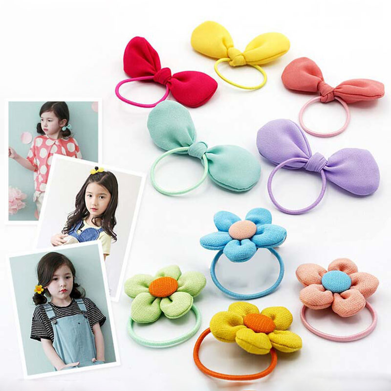 New Fashion Colorful Girls Elastic Hair Bands Rainbow Flower Bowknot Ponytail Holder Rope Baby Kids Hair Accessories(China (Mainland))