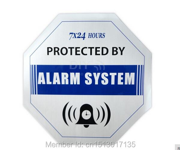 Caution blue Decals 10 PCS Waterproof Warning Sign Sticker for Home Security CCTV camera burglar GSM PSTN Alarm sysetem sensors(China (Mainland))