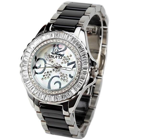 Smays Tag Women Quartz Watch White Black Ceramic Strap Luxury Crystal Japan Movt Diamond New Product Gift Charm Lady Dress Clock<br><br>Aliexpress