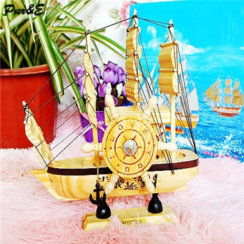 Hot sale fashion wooden sailing boat model with music box office ornaments home decoration plain sailing(China (Mainland))