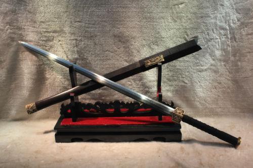 "HANDMADE HIGH QUALITY CHINESE SWORD ""HAN JIAN FOLDED PATTERN STEEL BLADE#352(China (Mainland))"