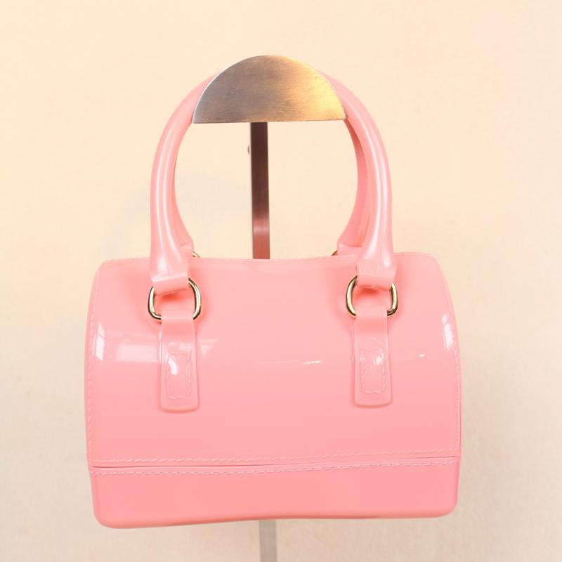 nancy hot sale women shoulder bag jelly candy bag pvc meterial mini size for children solid zipper messenger handbag many color(China (Mainland))