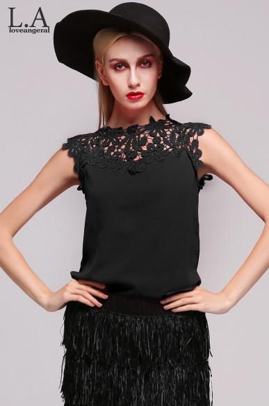 Tanks Haut Femme Sexy Tops For Women Sleeveless Lace Crochet Crop Top ...