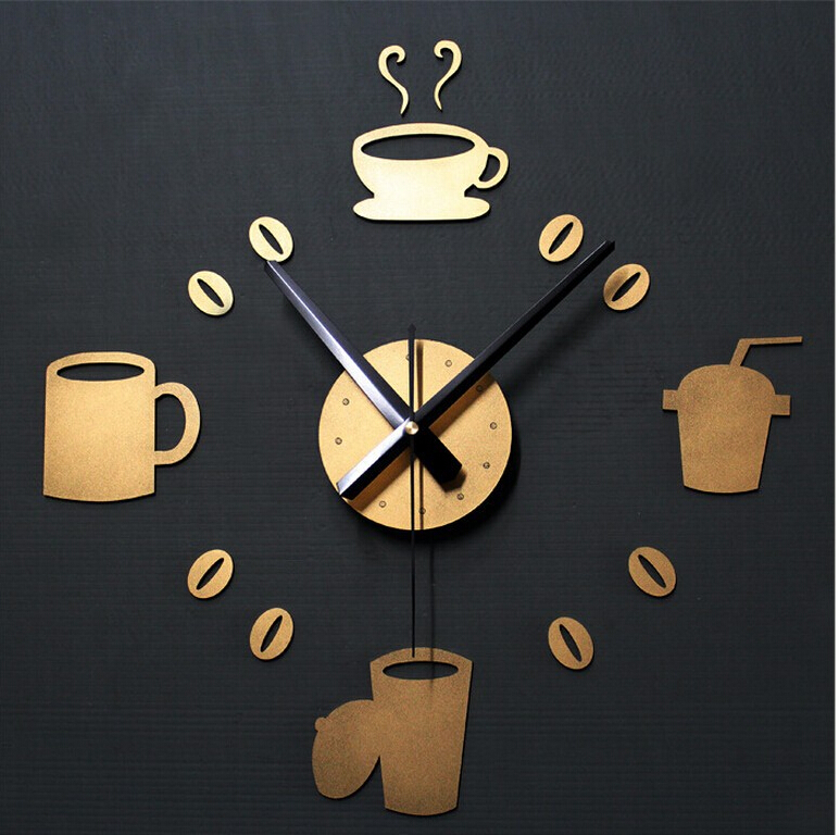 [YSK Shop]High Quality 3D Acrylic Mute Stylish DIY Coffee Wall Stickers Clock Funny Home Decoration for Kitchen & Restaurant(China (Mainland))