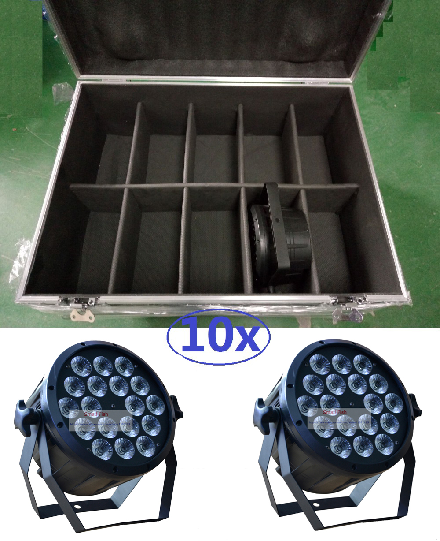 2016 High Power Led Par Light 18x12W RGBW 10pcs Flightcase Flat Par Led Can Light DMX DJ Disco Beam Wash Laser Stage Lighting