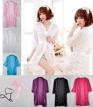 Sexy Women Satin Lace Robe Sleepwear Sexy Nightdress Pajamas(China (Mainland))
