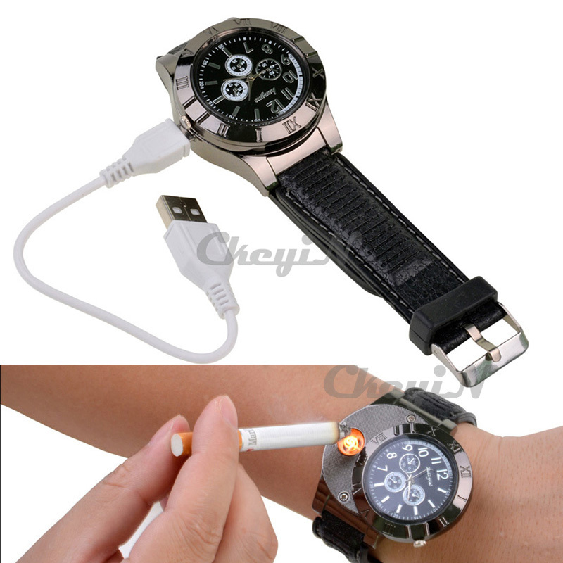 New 2015 Military USB Lighter Watch Men's Casual Quartz Wristwatches with Windproof Flameless Cigarette Cigar Lighter -P6063(China (Mainland))