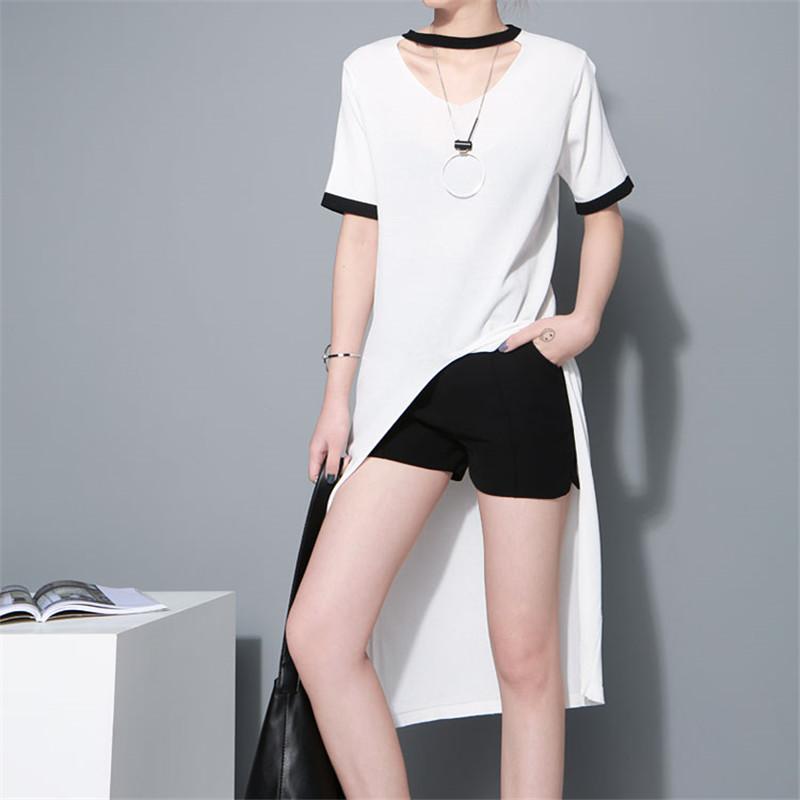 Summer Fashion Women 2016 Ringer Long Tee Striped Short Sleeve V Neck Split High Low Knitting Top Ice Silk Knitwear Shirt(China (Mainland))
